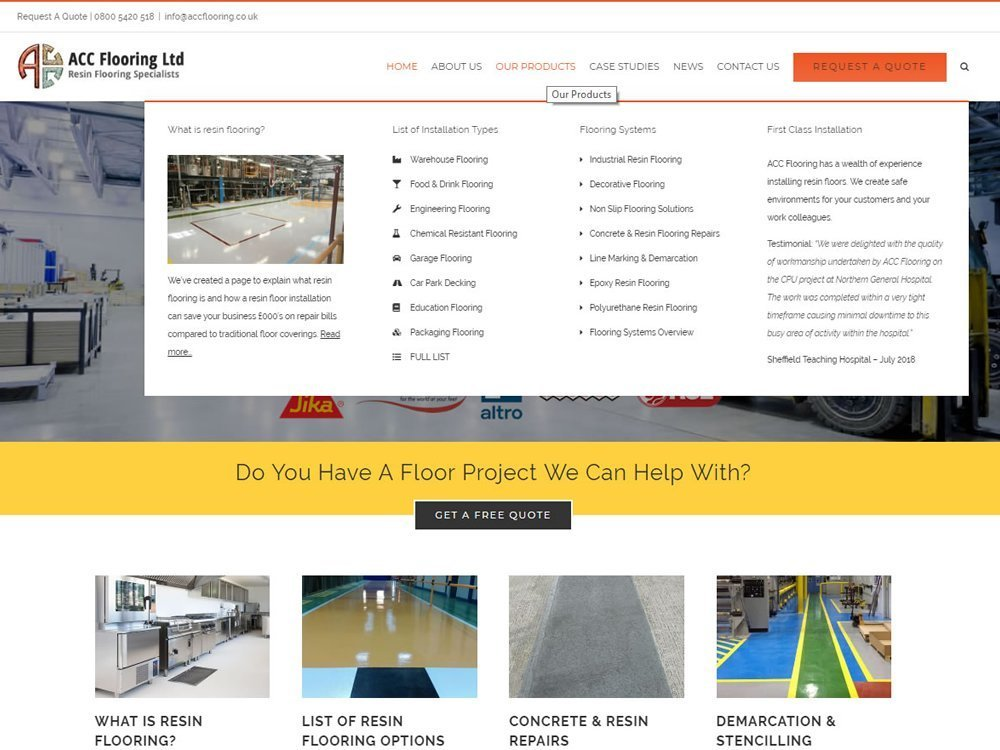 website design for accflooring in brighouse