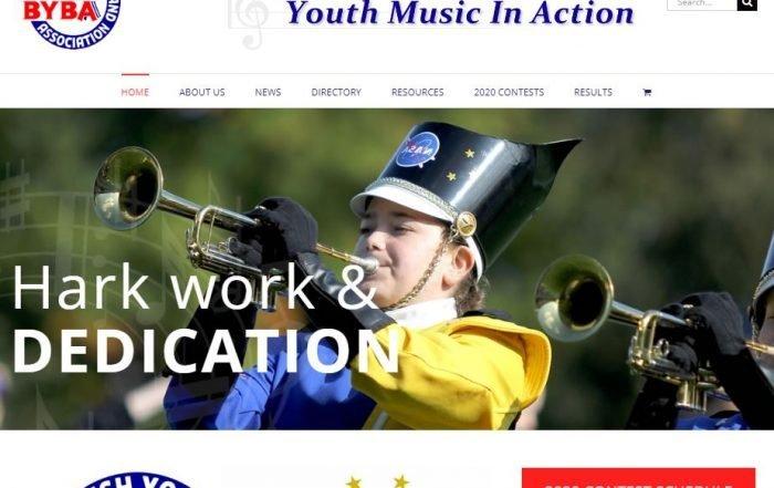 charity website for BYBA screenshot