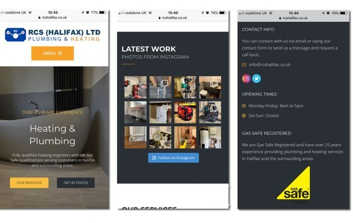 mobile screen shots of plumbers website