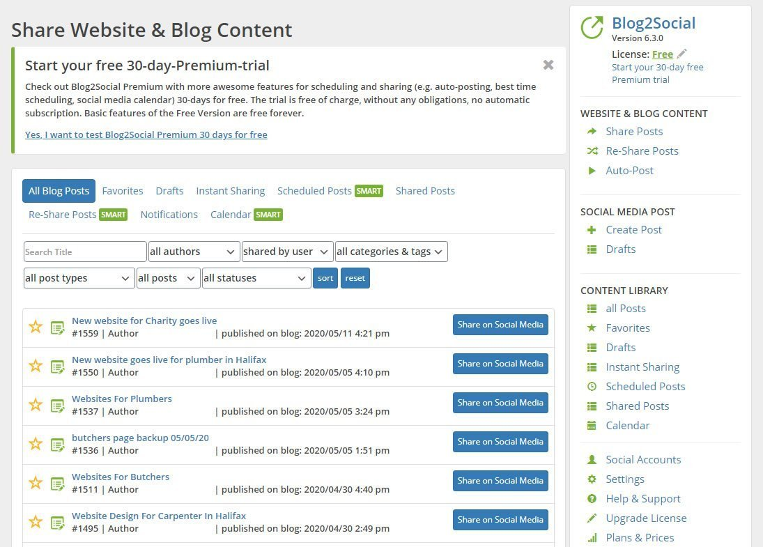 wordpress social post plugin screen shot